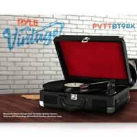 Pyle PVTTBT9BK Bluetooth Black Classic Briefcase-style Turntable Speaker System