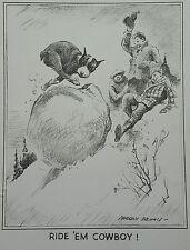 "Vintage Morgan Dennis Boston Terrier Print ""Ride em cowboy"" Free Shipping"