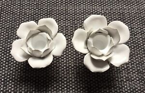 Brand New White Ceramic Flower Candle Holders