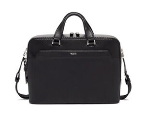 NWT $1,200 Tumi Ashton Gibson Leather Briefcase | Black