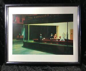 Hopper Painting Nighthawks Art Print Framed Under Glass