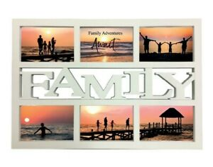 """White Family Design Multi Photo  4"""" x 6"""" Picture Frame Holds 6 Photos Wall Mount"""