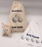 Personalised Golf Ball Bag, Tee Bag, towel, or Set, Dad, Christmas - Ball Design