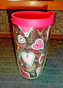 "NEW-TERVIS 16OZ  PINK TUMBLER, TRAVEL MUG W/ HEARTS  ""I LOVE MY SAILOR"""