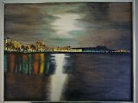 Vintage Signed Oil Painting Cityscape Moonlit Sky Sea Hawaii Shepherd 80'