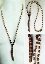 "ETHNIC INSPIRED MENS TRIBAL LONG 30"" CREAM BROWN HORN PENDANT WOOD BEAD NECKLACE"