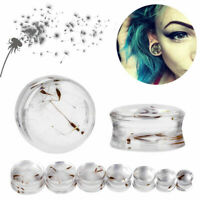 PAIR 3D Dandelion Resin Puff Ear Plugs Acrylic Ear Gauges Ear Flesh Expanders