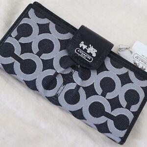 NWT COACH Madison Op Art Black/Silver Lurex Signature Skinny ID Wallet NEW 46799