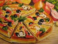 Watercolor Painting Italian Pizza Peppers Olives Cheese Mushroom Garlic ACEO Art