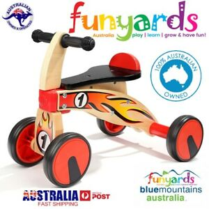 Four Wheeled wooden push Balance Bike for Toddlers with rubber wheels.Sit on