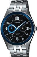 Casio MTP1353D-1B1 Mens Silver Stainless Steel Dress Watch Blue/Black Dial 50M