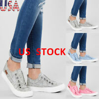 Women Canvas Flat Shoes Walking Pumps Slip On Sneakers Denim Plimsolls Fashion