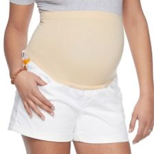A:glow Maternity Womens White Jean Shorts Full Belly Band Sz 14 NWT