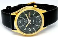 SEIKO 5 AUTOMATIC MEN,S GOLD PLATED VINTAGE BLACK DIAL MADE JAPAN WATCH  ORDER