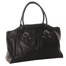 Piel Leather Large Top-Zip Handbag, Full-Grain Cowhide Leather in Black (SALE!)