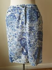 ETRO Designer Italy Womens Floral Cotton Skirt White Blue Sz 46 US Sz Lg