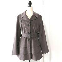 Cynthia Rowley Women's Pale Gray Needlecord Tiered Jacket Size XL