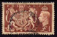 UK 1951 KGVI Brown One Pound Coat Of Arms - Used