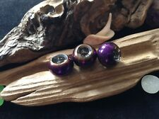 Violet Rainbow Dreadlock Beads 3x Iridescent Titanium Coated Glass 5mm Hole UK
