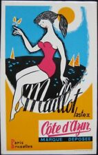 1960s French Bathing Suit Advertising Sign with Pinup Girl Bathing Beauty