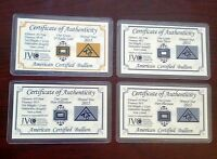 ACB Gold Silver Platinum Palladium 1GRAIN Bullion Bars Cert. of Authenticitys +