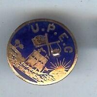 Vintage U.P.E.C. enamel goldplated mini badge lapel stud pin PORTUGAL Portugese
