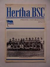 Hertha BSC Presse Information 1974 1975 Buch Heft