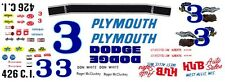 #3 Roger McCluskey Plymouth HUB Auto Sales 1/32nd Scale Waterslide Decals