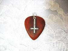 BLOODWOOD HAND MADE WOOD GUITAR PICK w INVERTED CROSS CHARM PENDANT ADJ NECKLACE