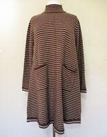 Sweater Dress Brown Beige Striped Knit Swing Trapeze Mock T-neck Medium Women