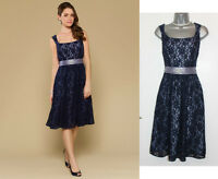 MONSOON Navy Crissy Lace Cocktail Embellished Sash Knee Length Party Dress UK 8