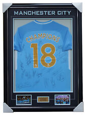 Manchester City Signed 2017/18 EPL No.18 Champions Team Jersey Framed Kompany