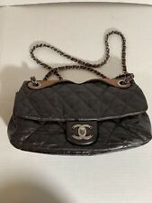 """Chanel """"In The Mix"""" Quilted Glazed Leather Maxi Jumbo CC Flap Shoulder Bag Brown"""