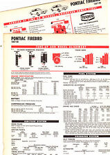 1967 1968 PONTIAC FIREBIRD 67 68 6 CYL & V-8 LUBRICATION LUBE TUNE-UP CHARTS CC3