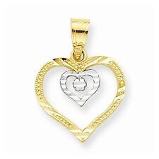 10K GOLD SMALL TWO TONE OPEN DIAMOND-CUT DOUBLE HEART PENDANT CHARM  0.5 GRAM