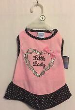 "Simply Wag Dog DRESS ""Little Lady"" Pink & Black - White Polka Dots Trim Small"
