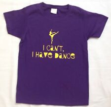 I Can't I Have Dance purple graphic short sleeve shirt top L 10