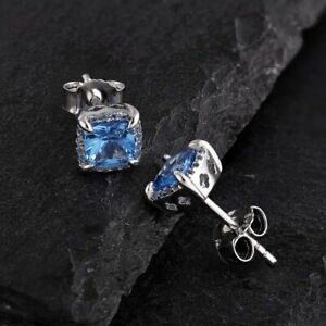 Delicated 4Ct Cushion Cut Blue Topaz Halo Stud Earrings 14K White Gold Finish
