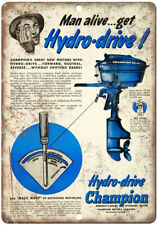 """Champion Hydro Driver Outboard Motor 10"""" x 7"""" Reproduction Metal Sign L39"""