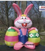 7FT PINK EASTER BUNNY AIRBLOWN INFLATABLE 2 EGGS LED LIGHTS YARD DECOR IN STOCK