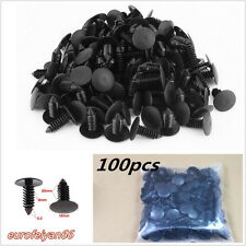 100 Pcs Black Nylon Plastic Autos Fender Moulding Rivets Trim Fastener Clips 8mm