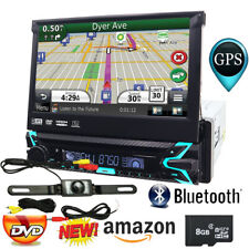 Car GPS Single 1Din Stereo Radio CD DVD Player Bluetooth with Map+Backup Camera