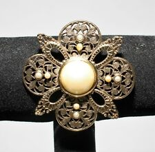 Gold Plated Brooch 1928 Faux Pearl