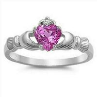 Celtic Claddagh Ring Genuie Sterling Silver 925 Rose Pink CZ Height 9 mm Size 5