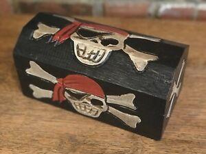 Pirate Box Treasure Chest Wooden Vintage Trinket Storage Box. Length 24cm