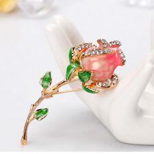 Lovely Rhinestone Rose Flower Enamel Brooch Badge Pin Women Fashion Jewelry Gift