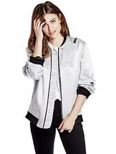 GUESS Women's & Men's Ruched Bomber Jacket NEW NWT SILVER BLACK SZ 3- LARGE, XL
