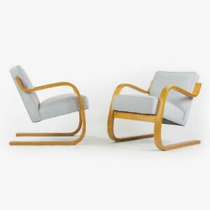 1930s Pair Early Alvar Aalto Finmar 34 402 Lounge Chairs Artek New Upholstery