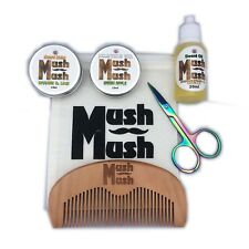 Mush Mush Mens Beard Grooming Kit 6 Piece Set - Premium Sandalwood and Vanilla