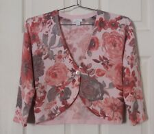 apt. 9 - Women's Pink and Gray Floral Cropped Cardigan - Small